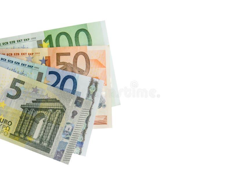 Pila de billetes de banco euro aislados fotos de archivo libres de regalías
