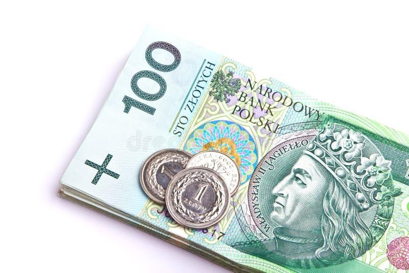 Pila de billetes de banco polacos del dinero imagenes de archivo