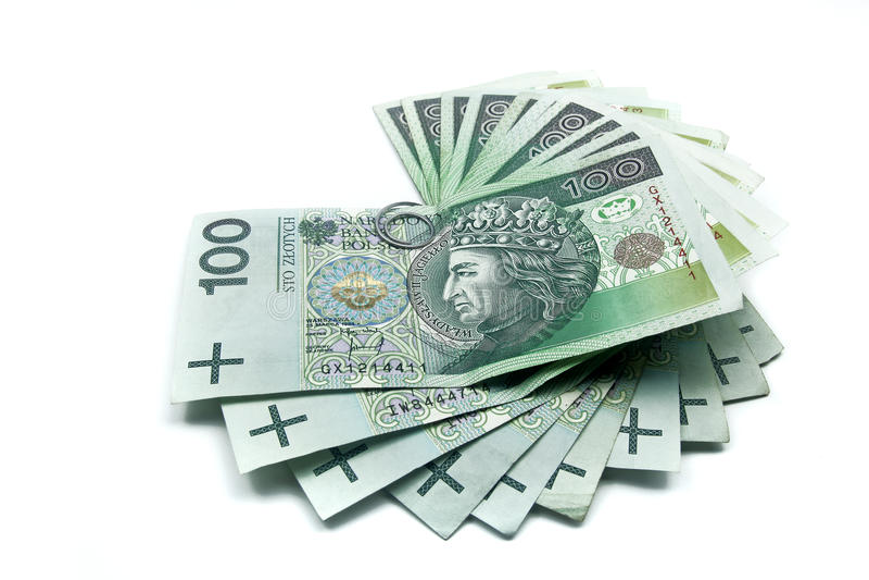 Pila de billetes de banco polacos del zloty de los centenares fotografía de archivo