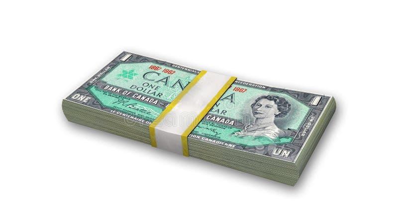 Pila de billetes de dólar del canadiense uno, dinero en el fondo blanco stock de ilustración