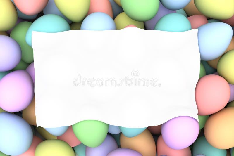 Pila de birght y de huevos de Pascua coloridos con el espacio blanco en blanco stock de ilustración