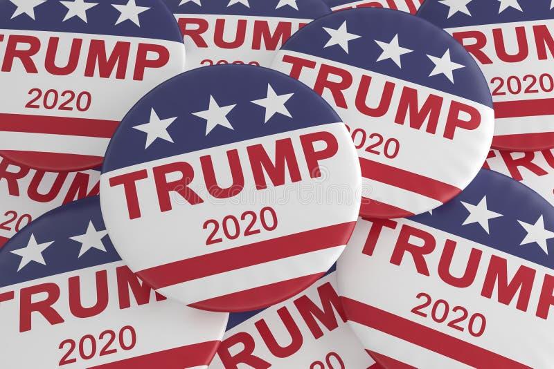 Pila de botones de la elección presidencial del triunfo 2020 con la bandera de los E.E.U.U., ejemplo 3d libre illustration