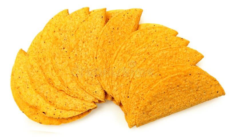 Pila de cáscaras del taco de la harina de maíz de Cruncy imagenes de archivo