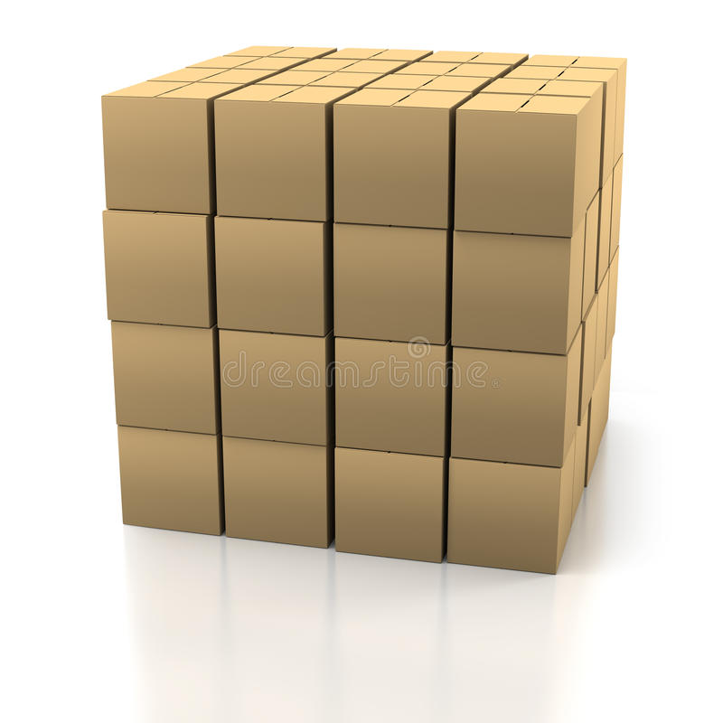 Pila de cajas de cartón stock de ilustración