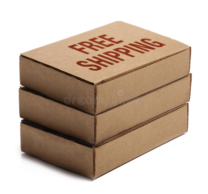 Pila de cajas de cartón. Envío libre. fotos de archivo libres de regalías