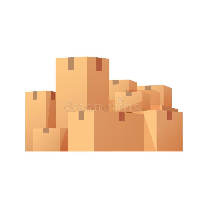 Pila de cajas de cartón selladas apiladas de las mercancías ilustración del vector