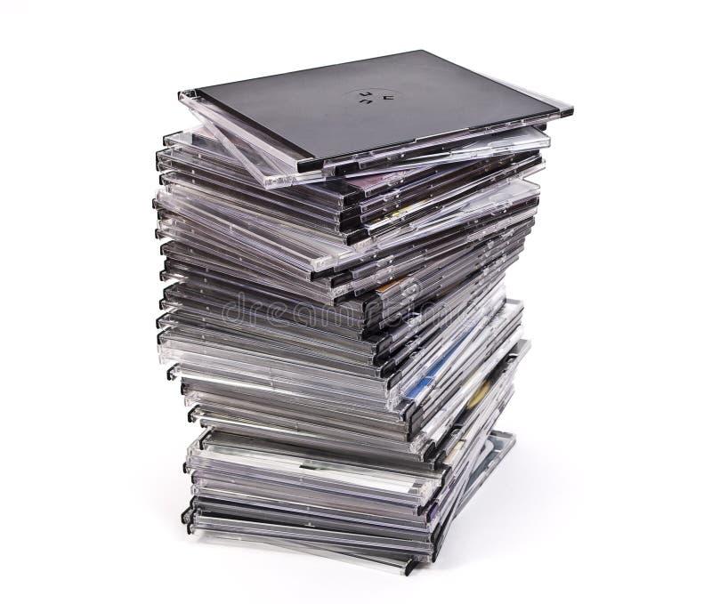 Pila de cajas del disco óptico fotos de archivo libres de regalías