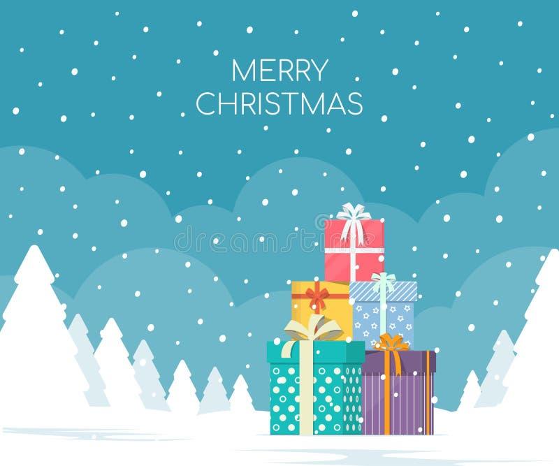 Pila de cajas de regalo en fondo del paisaje del invierno Concepto de la Navidad stock de ilustración