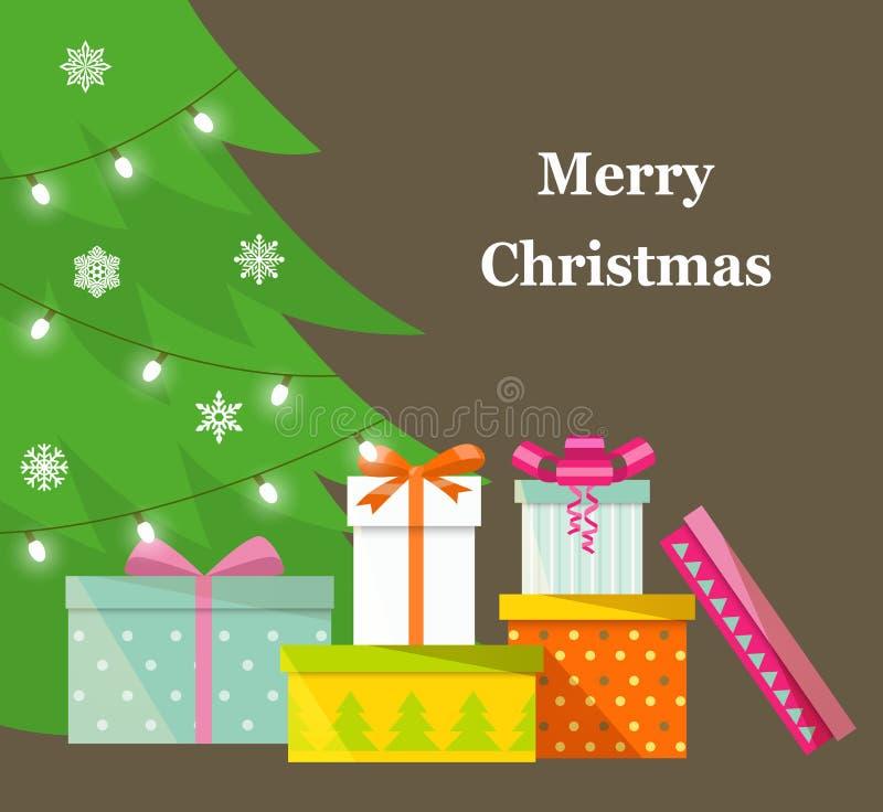 Pila de cajas de regalo envueltas coloridas Porciones de presentes Regalos delante de un árbol de navidad ilustración del vector