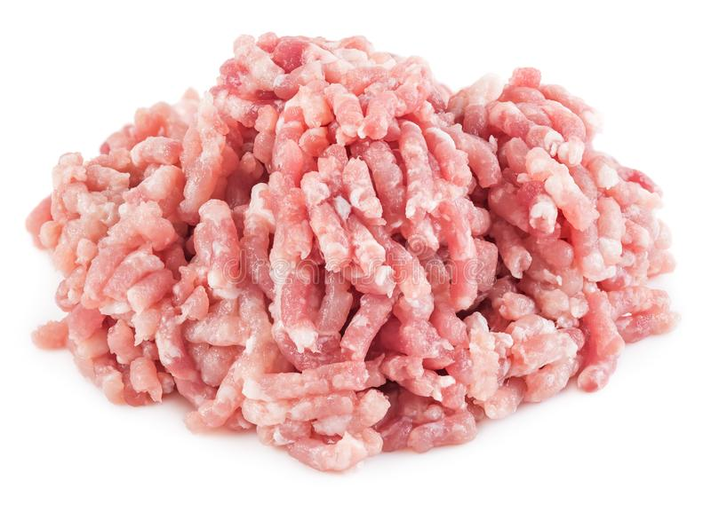 Pila de carne picadita aislada foto de archivo