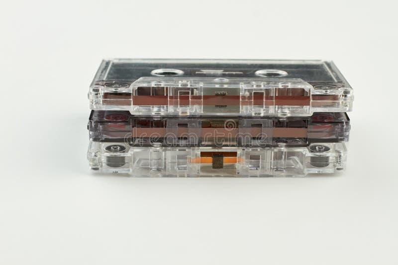 Pila de casetes audios del vintage fotografía de archivo libre de regalías