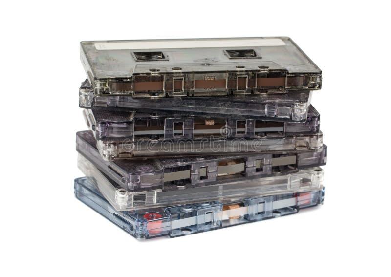 Pila de cassettes audios fotografía de archivo