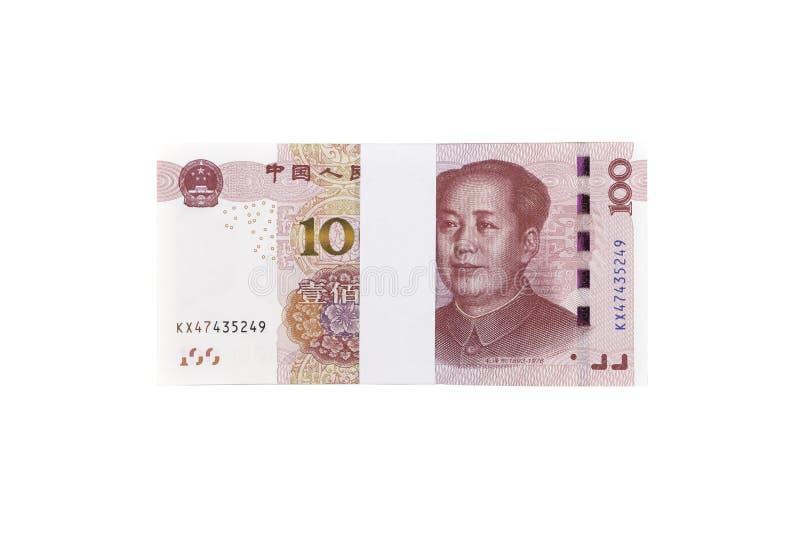 Pila de cientos cuentas chinas del yuan aisladas en el backgr blanco fotos de archivo