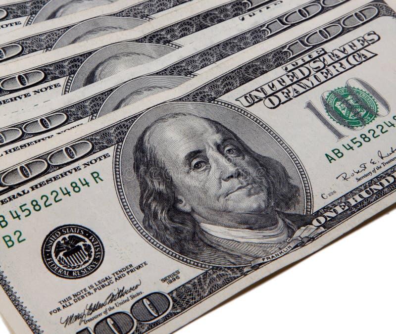 Pila de cientos dólares americanos imagen de archivo libre de regalías