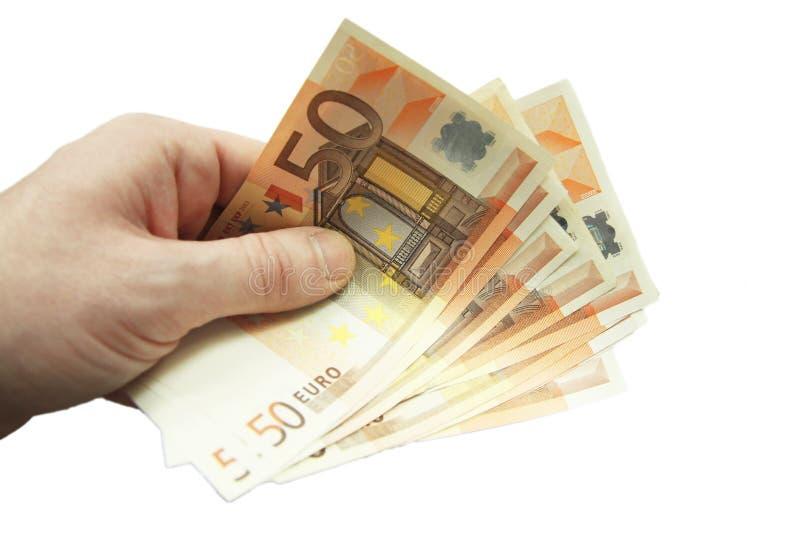 Pila de cincuenta billetes de banco euro aislados en el fondo blanco fotos de archivo libres de regalías