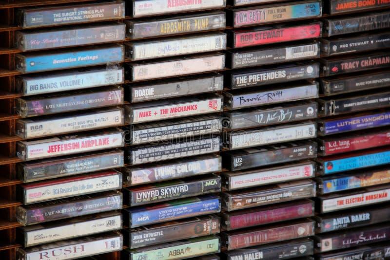 Pila de cintas de casete foto de archivo libre de regalías