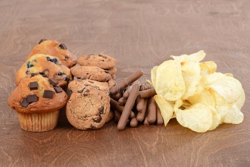 Pila de comida basura foto de archivo libre de regalías