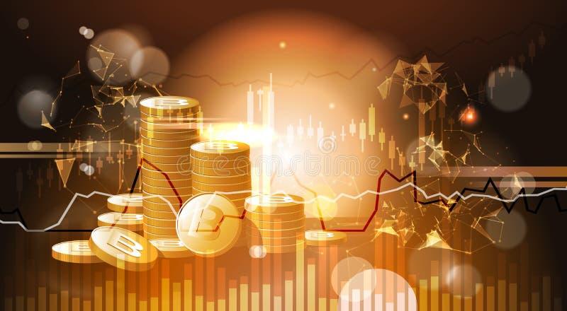 Pila de concepto Crypto de oro del dinero del web de la moneda de Bitcoins libre illustration