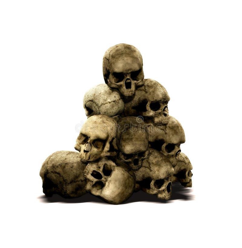 Pila de cráneos humanos ilustración del vector