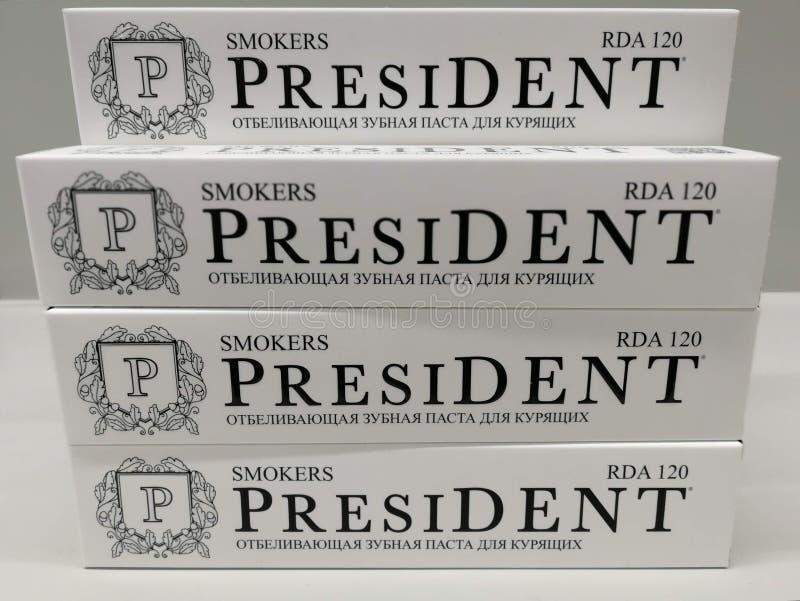 Pila de crema dental 'presidente ' fotografía de archivo