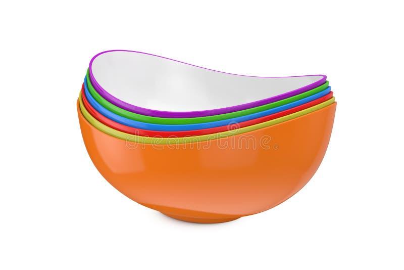 Pila de cuencos de cerámica multicolores de la comida representación 3d stock de ilustración