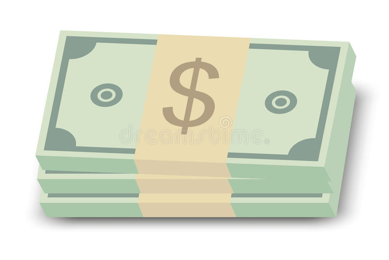 Pila de cuentas de dólar ilustración del vector