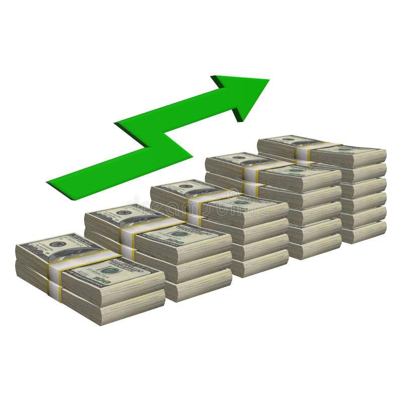 Pila de 100 dólares de billete de banco aislado Escalera del modelo con éxito de la carta de la flecha en un fondo blanco libre illustration