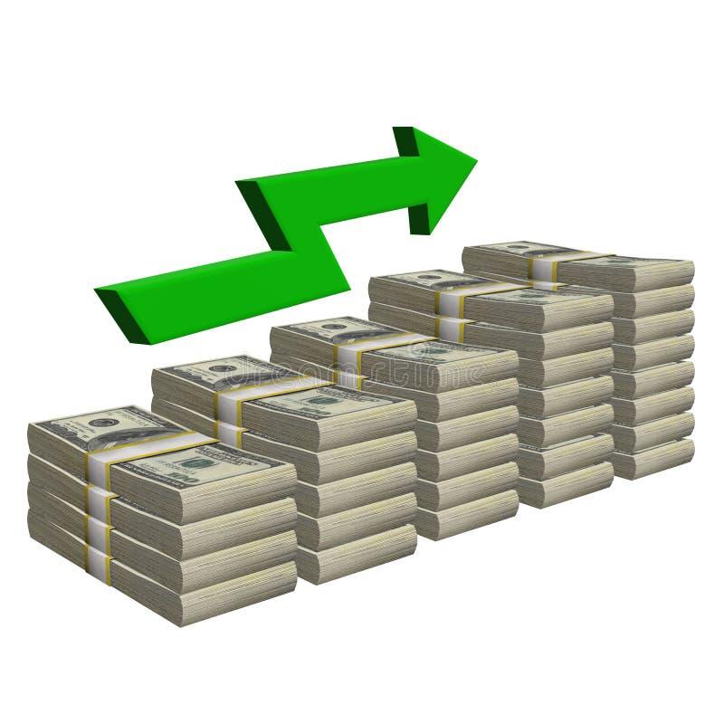 Pila de 100 dólares de billete de banco aislado Escalera del modelo con éxito de la carta de la flecha en un fondo blanco ilustración del vector