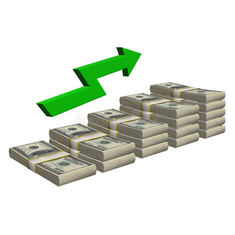 Pila de 100 dólares de billete de banco aislado Escalera del modelo con éxito de la carta de la flecha en un fondo blanco stock de ilustración