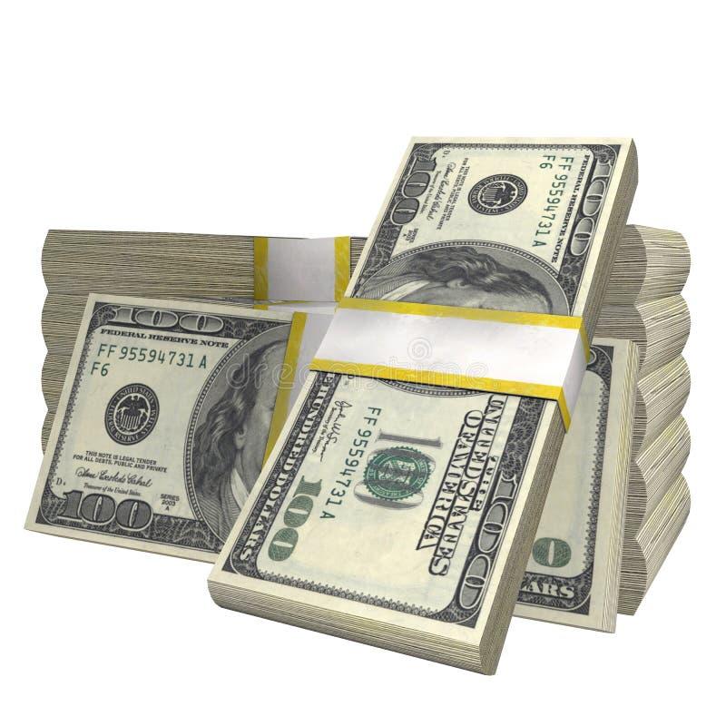 Pila de 100 dólares del billete de banco de la cuenta de los E.E.U.U. de billete de banco del dinero en un fondo blanco ilustración del vector