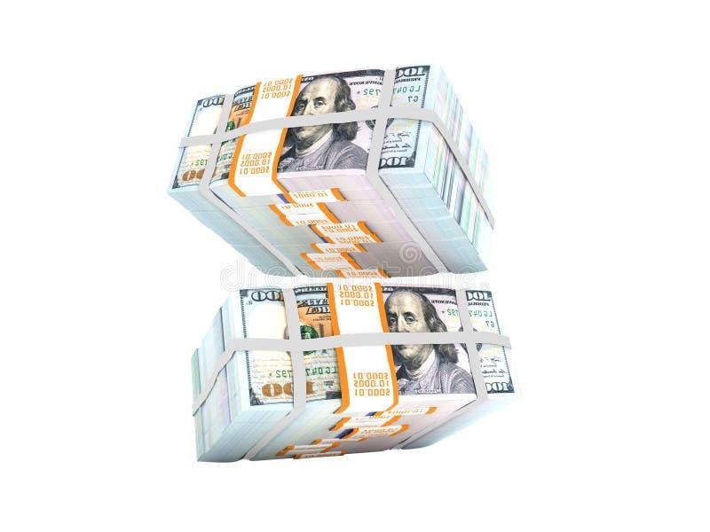 Pila de dólares que caen desde arriba de la representación 3d en el backgr blanco ilustración del vector