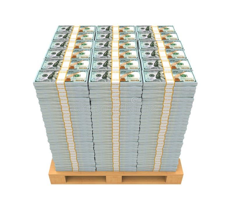 Pila de dinero con la plataforma de madera fotos de archivo