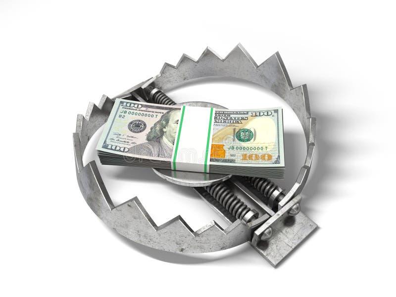 Pila de dinero en la trampa del metal del oso stock de ilustración