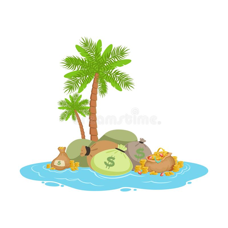 Pila de dinero grande que miente en una isla tropical, ejemplo del vector del concepto de las actividades bancarias costeras libre illustration