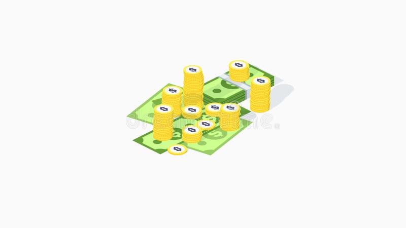 Pila de dinero isométrica Acumulación de vectores con moneda de oro y bulto de dinero Juego de monedas de dinero isométrico stock de ilustración