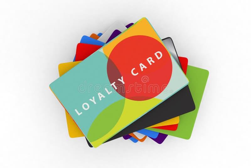 Pila de diversas tarjetas de la recompensa de la lealtad ilustración del vector