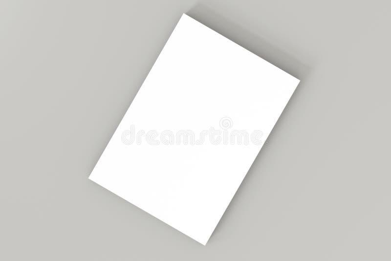 Pila de documento blanco del espacio en blanco A4 sobre fondo gris 3D de alta resolución rinden Plantilla de marcado en caliente  ilustración del vector