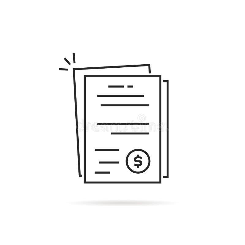 Pila de documentos lineares de la factura o de la cuenta ilustración del vector
