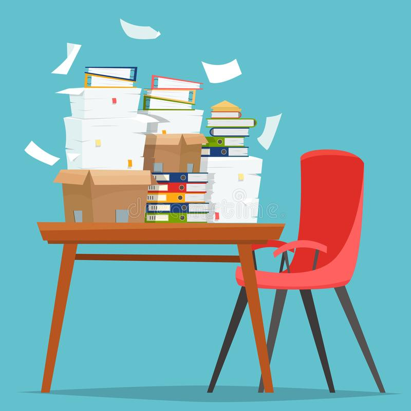 Pila de documentos de papel y de carpetas de archivos en cajas del cartón en la tabla de la oficina stock de ilustración