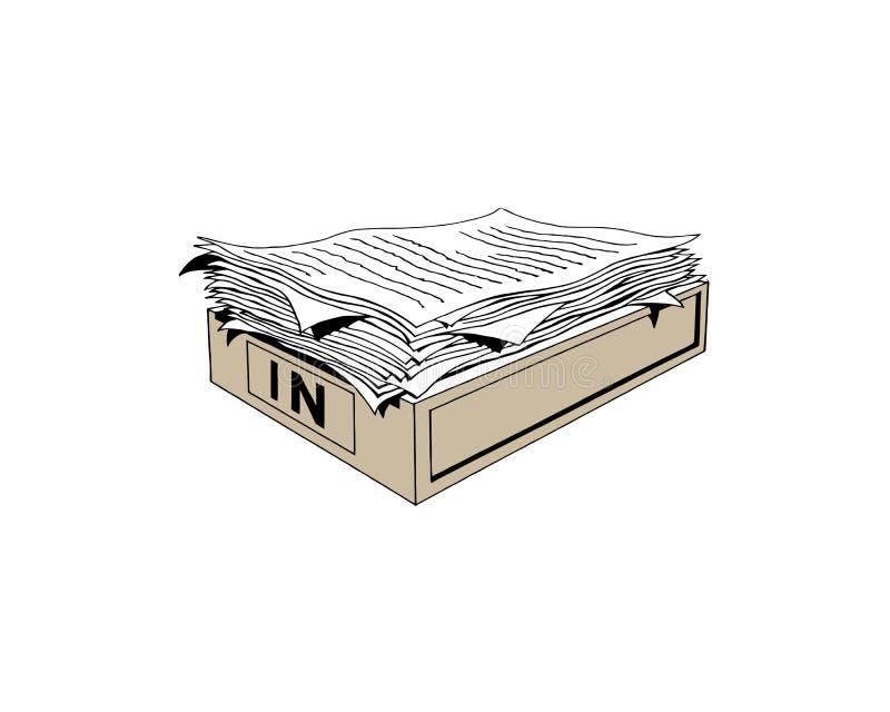 Pila de documentos de papel y de carpetas de archivos en cajas del cart?n en la tabla de la oficina Ejemplo plano del vector del  stock de ilustración
