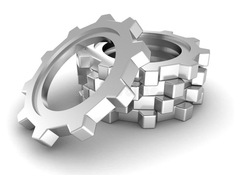 Pila de engranajes del metal en blanco. concepto del trabajo en equipo ilustración del vector
