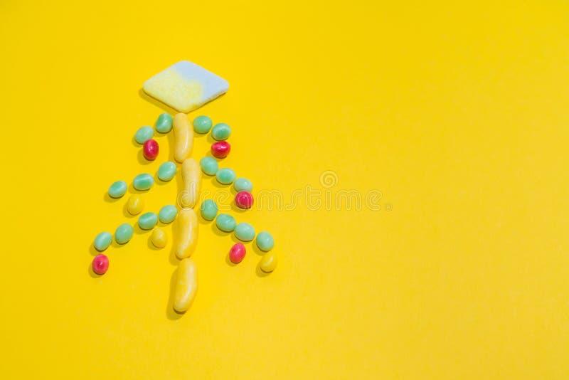 Pila de fondo de masticación colorido delicioso de los caramelos Dulces coloridos con el espacio para su texto fotos de archivo