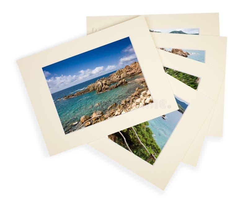 Pila de fotos con el passepartout fotos de archivo