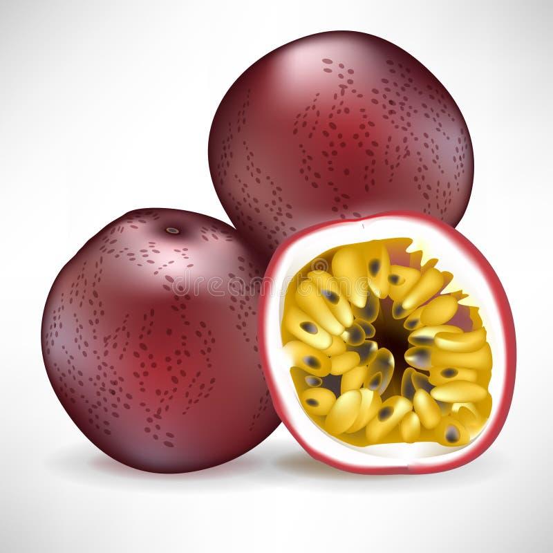 Pila de fruta de pasión y de fruta rebanada stock de ilustración