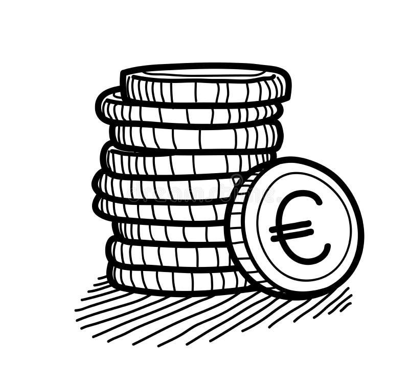 Pila de garabato de las monedas (euro) ilustración del vector