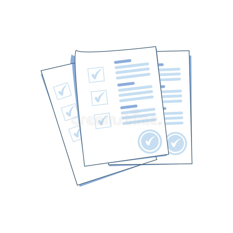 Pila de hojas del papel de la forma de la encuesta o del examen con la lista de control y el éxito contestados del concurso libre illustration