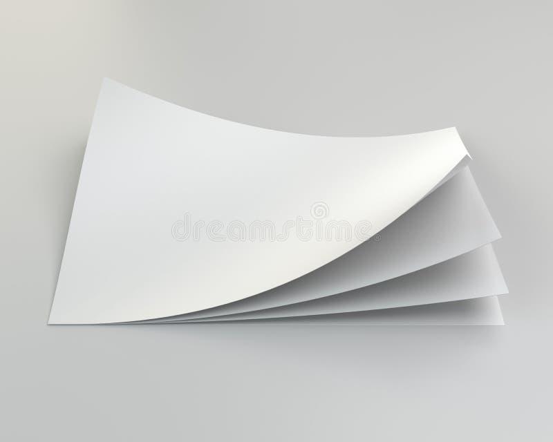 Pila de hojas del papel en blanco representación 3d stock de ilustración