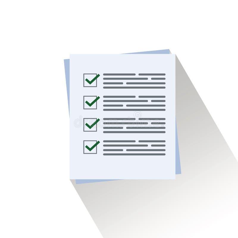 Pila de hojas del papel de la forma de la encuesta o del examen con la evaluación contestada del resultado del éxito de la lista  stock de ilustración