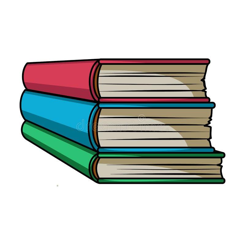 Pila de icono de los libros en estilo de la historieta aislado en el fondo blanco Reserva símbolo libre illustration