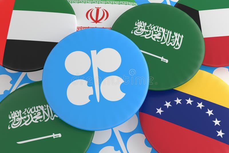 Pila de insignias de la bandera de países de la OPEP, ejemplo 3d ilustración del vector